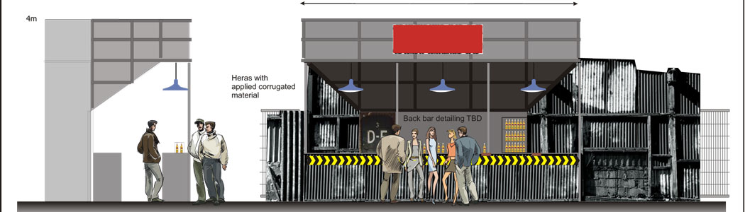 Elevational concept visual of festival bar set (branding removed)